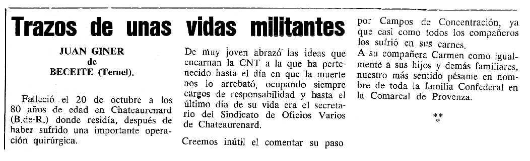 """Necrològica de Juan Giner Jorge publicada en el periòdic tolosà """"Cenit"""" del 28 de novembre de 1989"""
