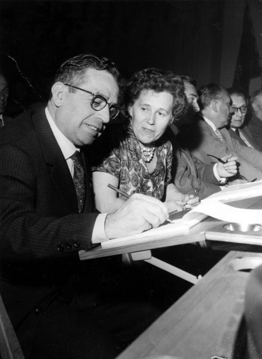 Ginés Alonso López, Margit Manus-Arvidsson, Louis Mercier, Helmut Rüdiger i Albert de Jong en el Congrés del Cinquantenari de la SAC (Estocolm, 1960)