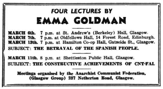 "Propaganda de la gira escocesa de Goldman apareguda en el periòdic londinenc ""Spain and the World"" del 4 de març de 1938"