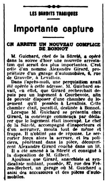 """Notícia de la detenció d'Alexandre Girard apareguda en el diari parisenc """"Le Soleil"""" del 28 d'abril de 1912"""