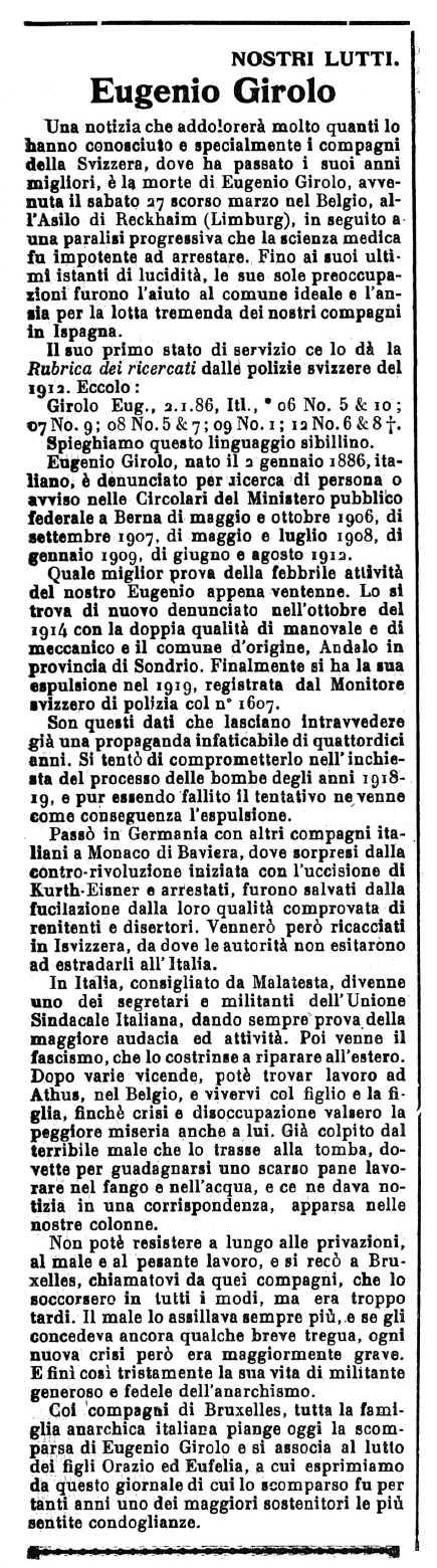 """Necrològica d'Eugenio Girolo apareguda en el periòdic ginebrí """"Il Risveglio Anarchico"""" del 10 d'abril de 1937"""