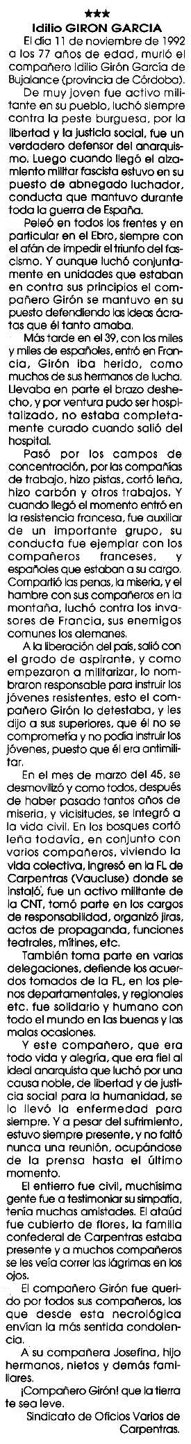 """Necrològica d'Idilio Girón García apareguda en el periòdic tolosà """"Cenit"""" del 16 de febrer de 1993"""