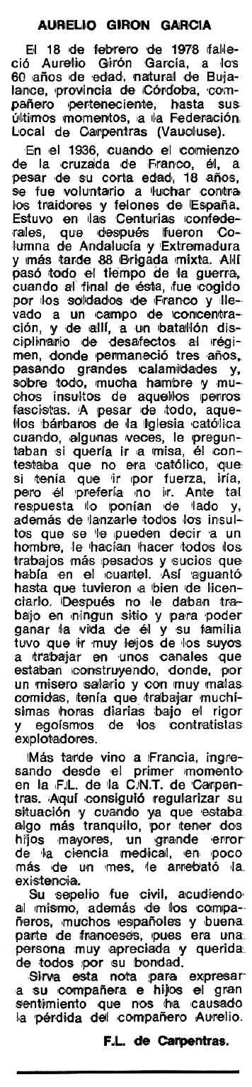 """Necrològica d'Aurelio Girón García publicada en el periòdic tolosà """"Espoir"""" del 12 de juny de 1978"""