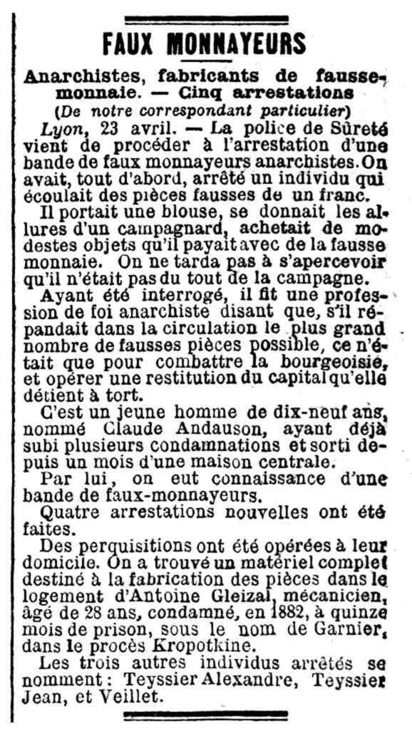 """Notícia de la detenció d'Antoine Gleizal apareguda en el periòdic parisenc """"La Lanterne"""" del 25 d'abril de 1891"""