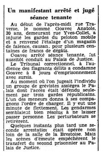 """Noticia de la detención de Anatole Goavec aparecida en el periódico de Rennes """"El Ouest-Éclair"""" del 7 de agosto de 1935"""