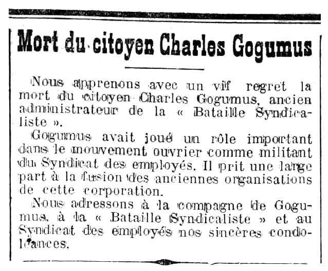 """Notícia de la mort de Charles Gogomus apareguda en el periòdic tolosà """"Le Midi Socialiste"""" del 27 de juny de 1915"""