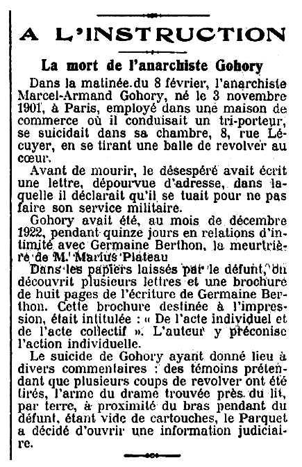 """Notícia sobre la mort d'Armand Gohory apareguda en el diari parisenc """"Le Figaro"""" de l'11 de febrer de 1923"""