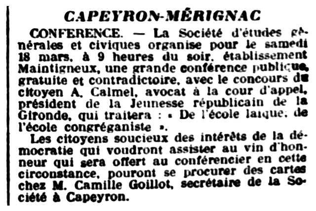 """Notícia referent a Camille Goillot apareguda en el diari de Bordeus """"La France de Bordeaux et du Sud-Ouest"""" del 17 de març de 1905"""