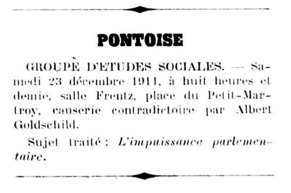 "Notícia de la xerrada d'Albert Goldschild apareguda en el diari de Livry ""La Lutte Sociale de Seine-et-Oise"" del 23 de desembre de 1911"