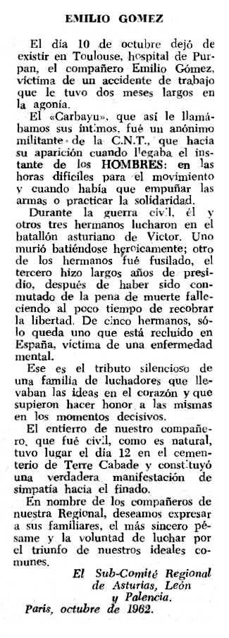 "Necrològica d'Emilio Gómez Rodríguez apareguda en el periòdic tolosà ""Espoir"" del 18 de novembre de 1962"