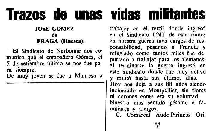"""Necrològica de José Gómez apareguda en el periòdic parisenc """"Cenit"""" del 5 de desembre de 1989"""