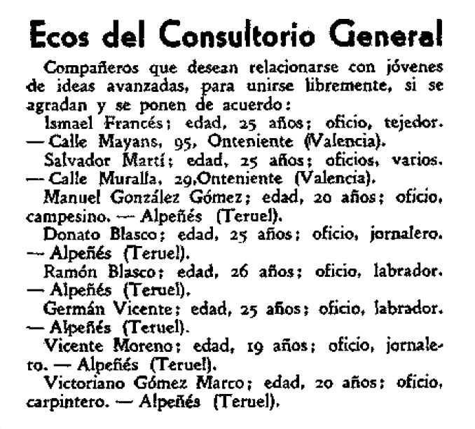 """Anunci buscant parella de Victoriano Gómez Marco, i d'altres companys, apareguda en la madrilenya """"La Revista Blanca"""" del 5 d'abril de 1935"""