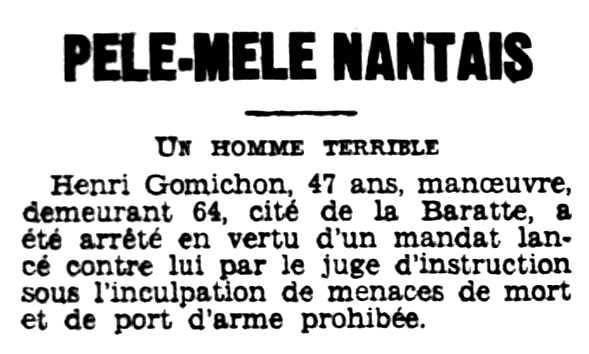 """Notícia de la detenció d'Henri Gomichon aparaguda en el diari de Rennes """"L'Ouest-Éclair"""" de l'11 de desembre de 1930"""