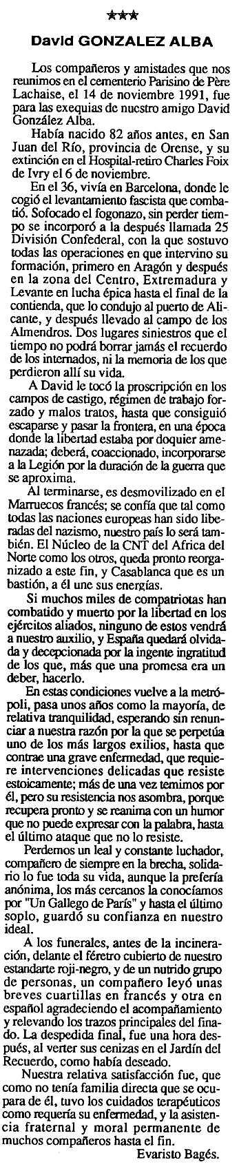 """Necrològica de David González Alba apareguda en el periòdic tolosà """"Cenit"""" del 24 de desembre de 1991"""