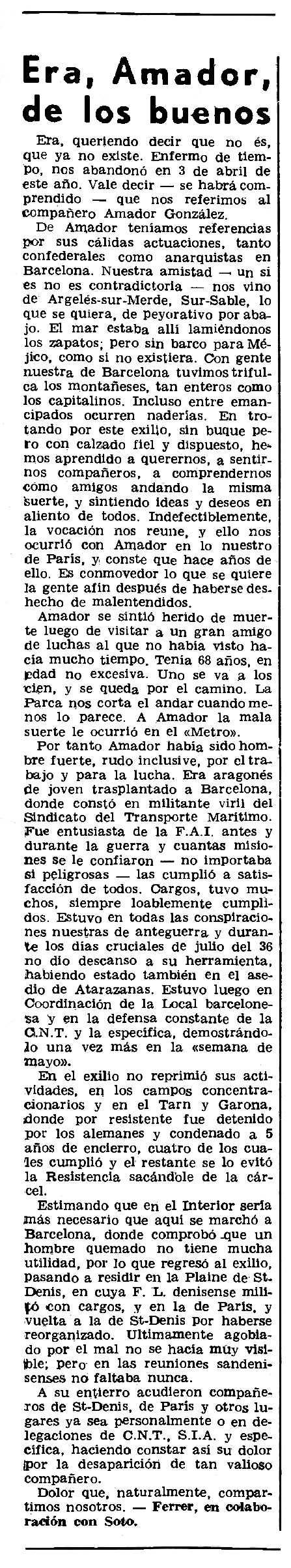 """Necrològica d'Amador González Bravo publicada en el periòdic parisenc """"Le Combat Syndicaliste"""" del 25 de setembre de 1975"""