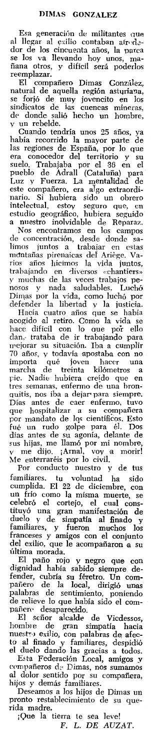 """Necrològica de Dimas González Caldevilla apareguda en el periòdic tolosà """"Espoir"""" del 22 de març de 1964"""