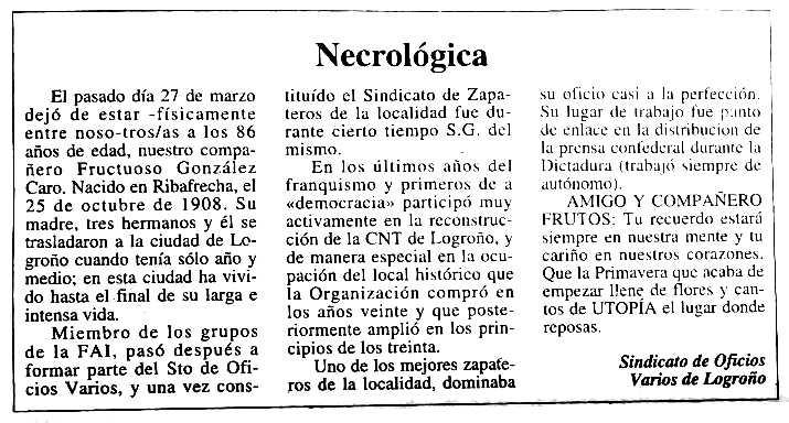 """Necrològica de Fructuoso González Caro apareguda en el periòdic granadí """"CNT"""" de la primera quinzena de maig de 1995"""