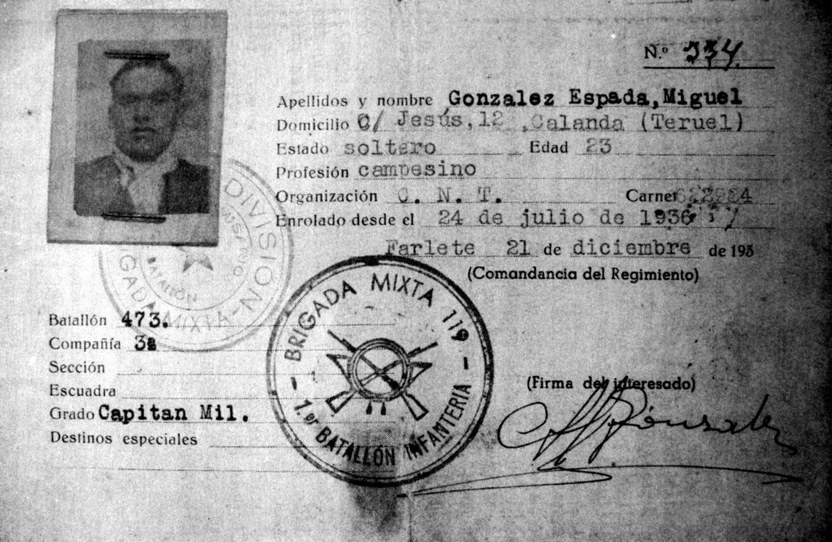 Carnet militar de Miguel González Espada