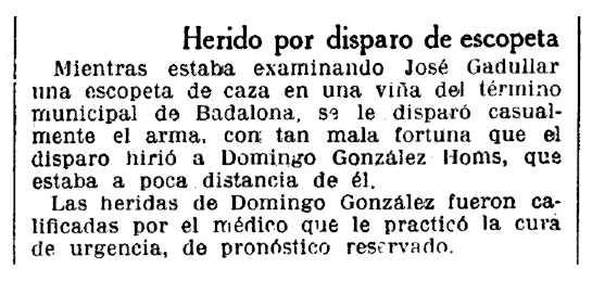 """Notícia sobre l'""""accident"""" de Domingo González Homs publicada en """"La Vanguardia"""" del 6 de desembre de 1933"""
