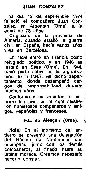 """Necrològica de Juan González apareguda en el periòdic tolosà """"Espoir"""" del 10 de novembre de 1974"""