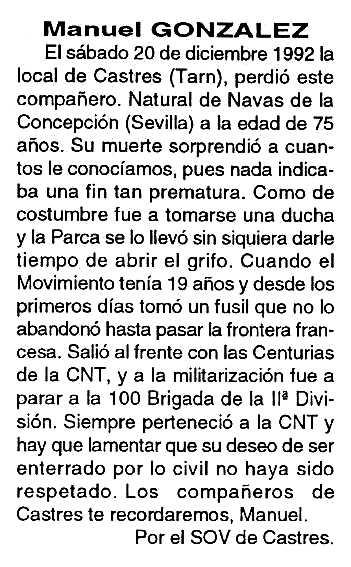 """Necrològica de Manuel González Esquina apareguda en el periòdic tolosà """"Cenit"""" del 23 de febrer de 1993"""