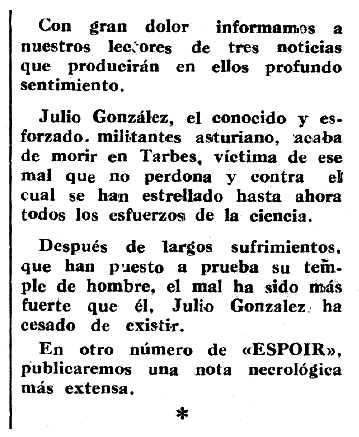 """Necrològica de Julio González Martínez apareguda en el periòdic tolosà """"Espoir"""" del 4 d'agost de 1963"""