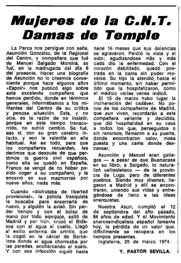 """Necrològica d'Asunción González Pardo apareguda en el periòdic tolosà """"Espoir"""" del 23 de juny de 1974"""