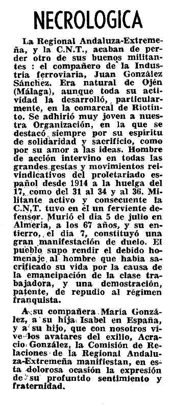 "Necrològica de Juan González Sánchez apareguda en el periòdic parisenc ""Nervio"" de setembre de 1959"