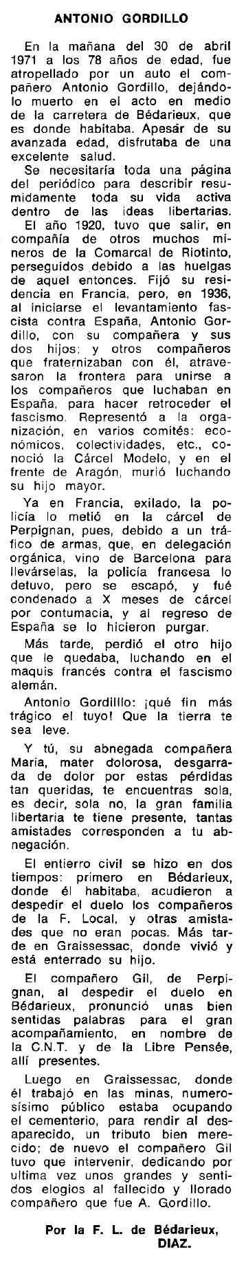 """Necrològica d'Antonio Gordillo Maya apareguda en el periòdic tolosà """"Espoir"""" del 19 de setembre de 1971"""