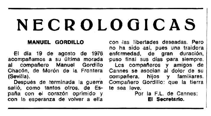 """Necrològica de Manuel Gordillo Chacón apareguda en el periòdic tolosà """"Espoir"""" del 31 d'octubre de 1976"""