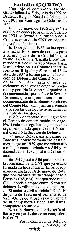 """Necrològica d'Eulalio Gordo apareguda en el periòdic tolosà """"Cenit"""" del 8 de desembre de 1992"""