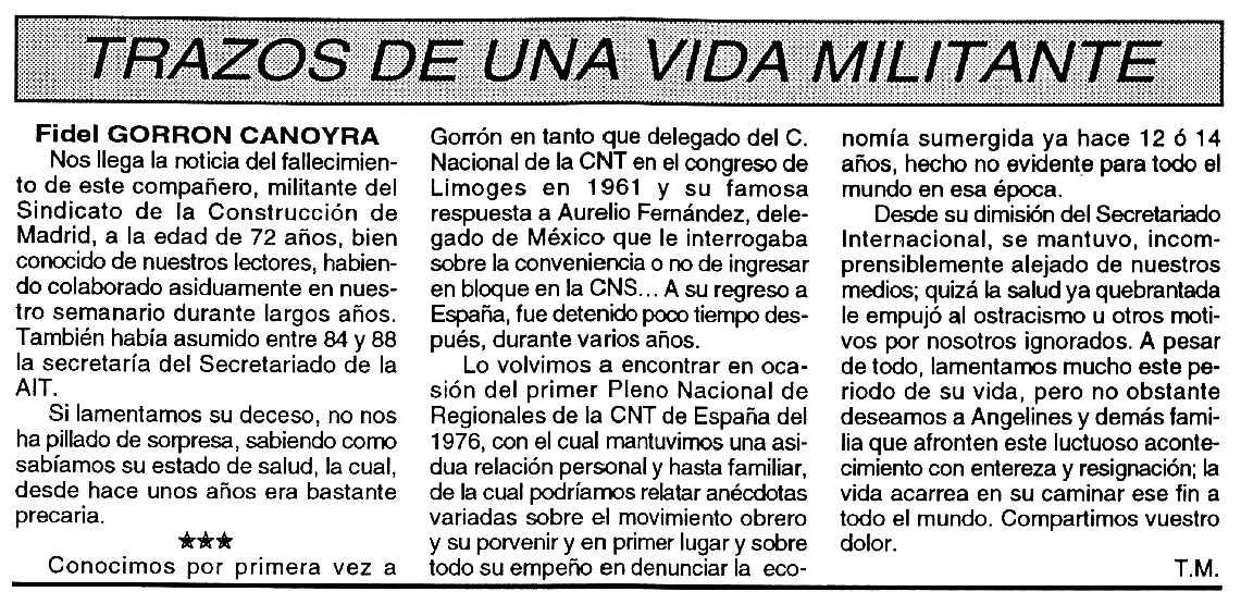 """Necrològica de Fidel Gorrón Canoyra apareguda en el periòdic tolosà """"Cenit"""" del 2 de març de 1993"""
