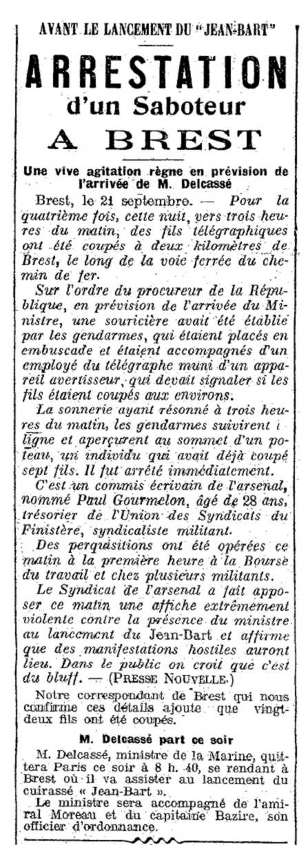 """Notícia de la detenció de Paul Gourmelon apareguda en el periòdic parisenc """"La Presse"""" del 22 de setembre de 1911"""