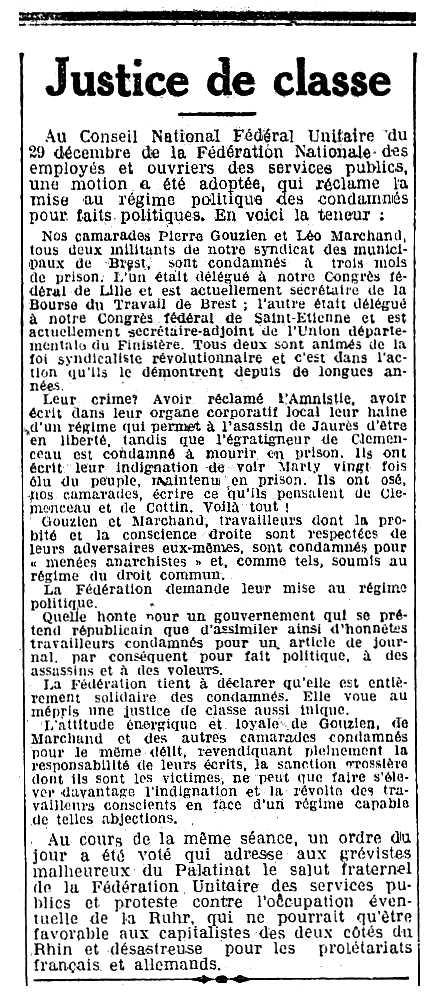 """Notícia sobre la condemna de Pierre Gouzien apareguda en el periòdic parisenc """"L'Humanité"""" del 4 de gener de 1923"""