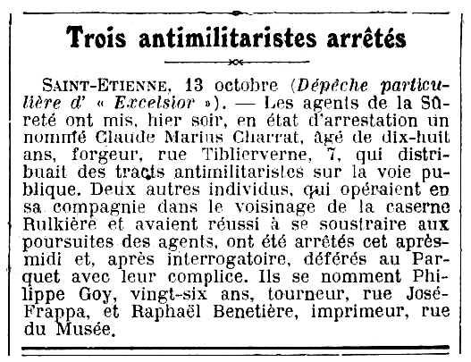"""Notícia de la detenció de Philippe Goy i altres companys apareguda en el diari parisenc """"Excelsior"""" del 14 d'octubre de 1913"""