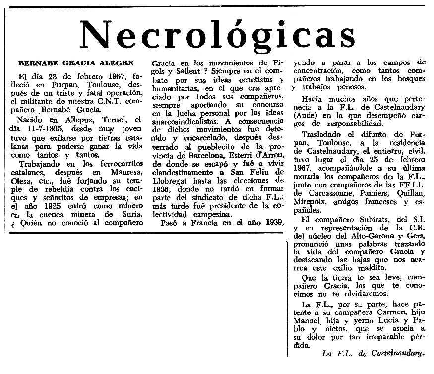 """Necrològica de Bernabé Gracia Alegre apareguda en el periòdic tolosà """"Espoir"""" del 16 d'abril de 1967"""