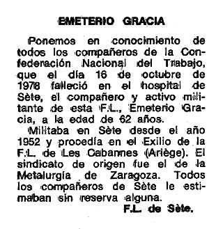"""Necrològica d'Emeterio Gracia Peyrona apareguda en el periòdic tolosà """"Espoir"""" del 6 de novembre de 1978"""