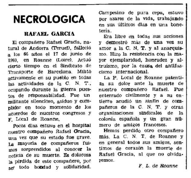 "Necrològica de Rafael Gracia Pérez apareguda en el periòdic parisenc ""Le Combat Syndicaliste"" del 25 de setembre de 1969"