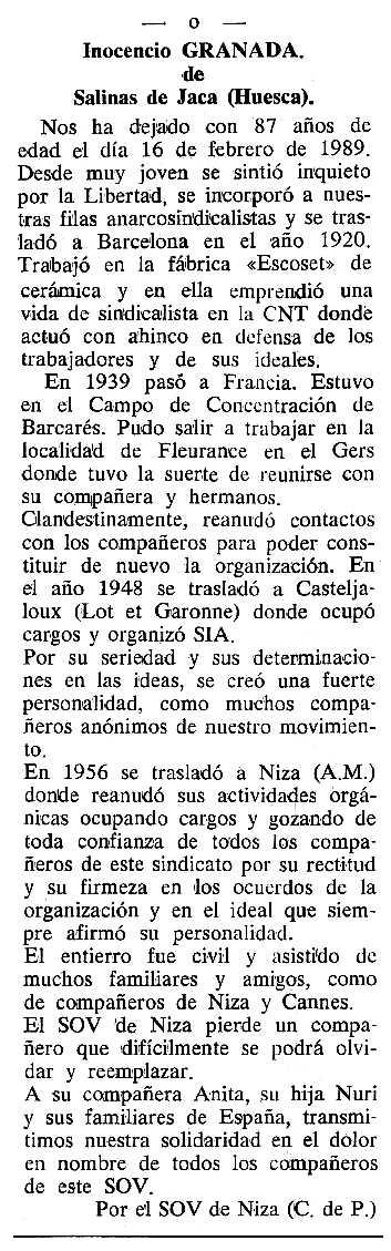 """Necrològica d'Inocencio Granada apareguda en el periòdic tolosà """"Cenit"""" del 28 de març de 1989"""