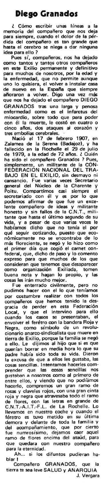 """Necrològica de Diego Julián Granados Triviño apareguda en el periòdic tolosà """"Espoir"""" del 23 de setembre de 1979"""