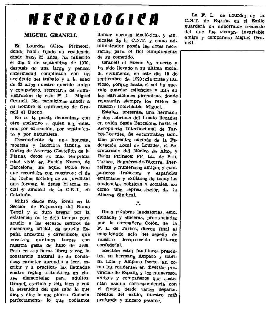 "Necrològica de Miquel Granell Catalán apareguda en el periòdic parisenc ""Le Combat Syndicaliste"" del 15 d'octubre de 1970"