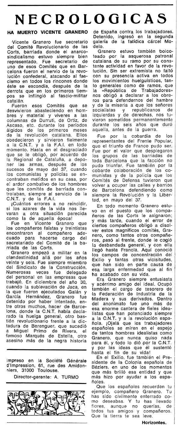 """Necrològica de Vicente Granero Gimeno apareguda en el periòdic tolosà """"Espoir"""" del 3 d'abril de 1977"""