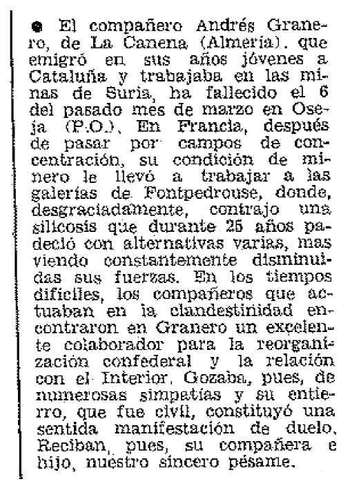 "Necrològica d'Andrés Granero Morcillo apareguda en el periòdic parisenc ""Frente Libertario"" de maig de 1974"