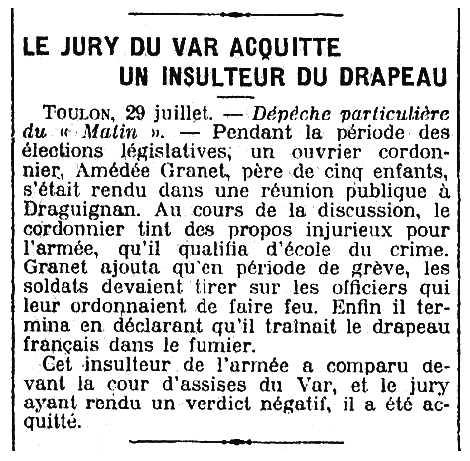 """Notícia de l'absolució d'Amédée Granet apareguda en el diari parisenc """"Le Matin"""" del 30 de juliol de 1910"""