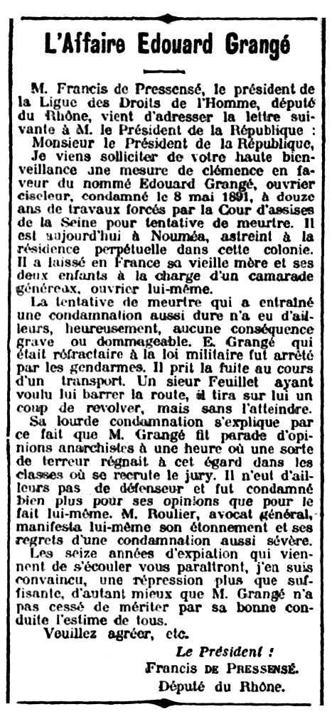 """Suport de Francis de Pressencé a Edme Grangé publicat en el diari parisenc """"Le Soir"""" del 4 de maig de 1907"""
