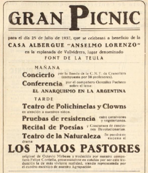 """Propaganda del Gran Picnic apareguda en el número 1 del periòdic barceloní """"Boletín de la Agrupación Anarquista «Los de Ayer y los de Hoy»"""" de juliol 1937"""