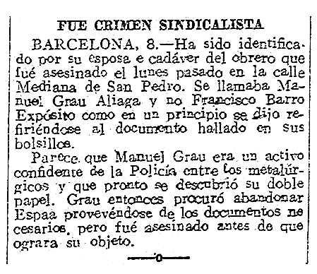 """Notícia sobre la mort de Manuel Grau Aliaga apareguda en el diari madrileny """"El Debate"""" del 8 de maig de 1920"""