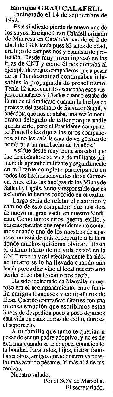 """Necrològica d'Enric Grau Calafell apareguda en el periòdic tolosà """"Cenit"""" del 13 d'octubre de 1992"""