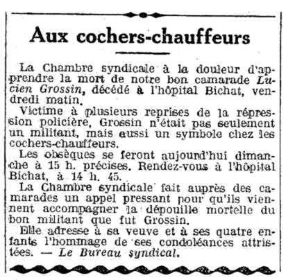 """Necrològica de Lucien Grossin apareguda en el periòdic parisenc """"L'Humanité"""" del 17 d'agost de 1924"""