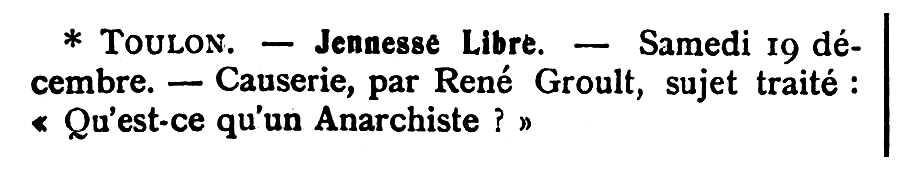 """Propaganda d'una de les xerrades de René Groult publicada en el periòdic parisenc """"Le Temps Nouveaux"""" del 19 de desembre de 1908"""